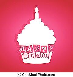 생일 축하합니다, 카드, 컵케이크