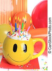 생일 축하합니다, 컵케이크, 와..., 초