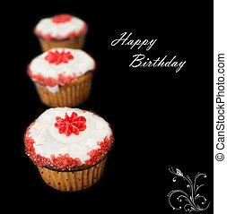 생일 축하합니다, 컵케이크, 향하여, 어두운 배경