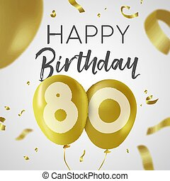 생일 축하합니다, 80, 80, 년, 금, balloon, 카드