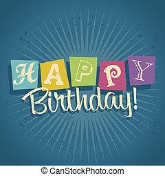 생일 축하합니다, retro, 카드, 인사