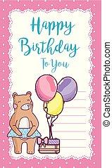 생일 카드, 곰, 행복하다