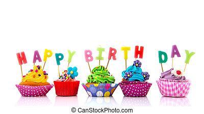 생일, 컵케이크, 다채로운, 행복하다