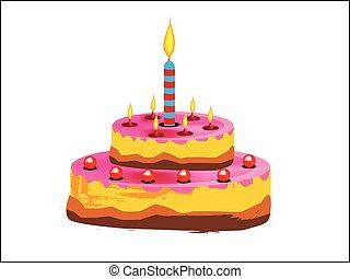 생일, 타는 것, 케이크, 초