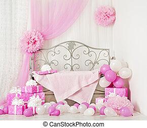 생일 파티, 방, 배경, 와, 선물, boxes., 키드 구두, 축하, 은 선물한다, 소녀, 또는, 여자