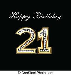 생일, 21, 행복하다