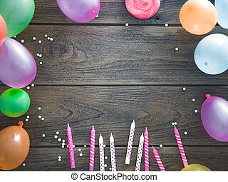 생일, baloons, 와..., 물건