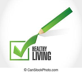 생존, 개념, 건강한, 표, 표시, 수표
