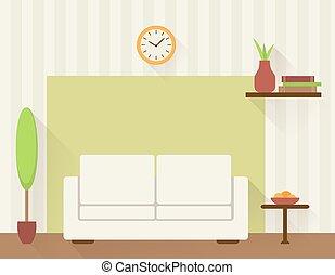생존, 백색, sofa., 방