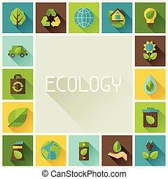 생태학, 구조, 와, 환경, icons.