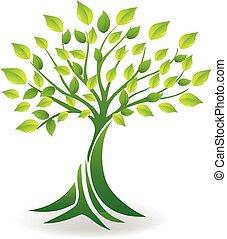 생태학, 나무, 로고, 벡터