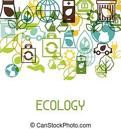 생태학, 배경, 와, 환경, icons.