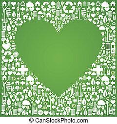 생태학, 사랑, 개념 아이콘, 배경