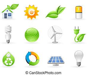 생태학, 와..., 녹색, 에너지, 아이콘, 세트