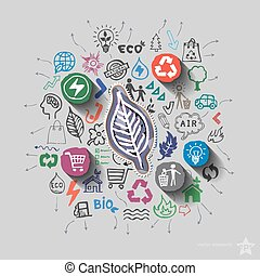 생태학, emblem., 환경, 콜라주, 와, 아이콘, 배경