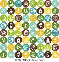 생태학, seamless, 패턴, 와, 환경, icons.