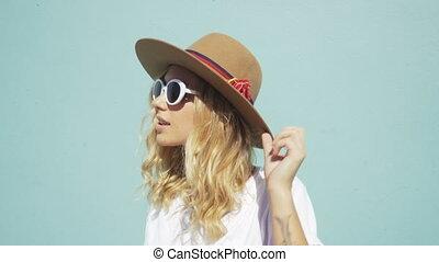 생활 양식, fashionista, 나이 적은 편의, sunglasses., 캘리포니아 여아