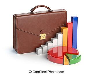 서류 가방, 그래프, concept., 고립된, 배경., 유가 증권 일람표, 백색, 시장, 주식