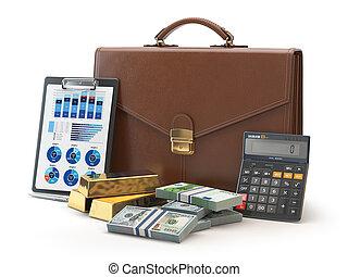 서류 가방, 금, 계산기, 돈, concept., 고립된, 배경., 유가 증권 일람표, 백색, 시장, 주식