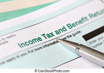 서류 작성, 개인, 세금 신고서, canadian