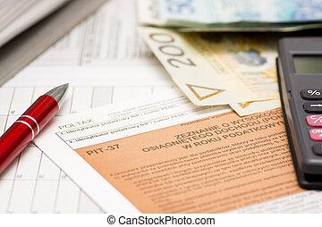 서류 작성, 폴란드어, 세금 신고서