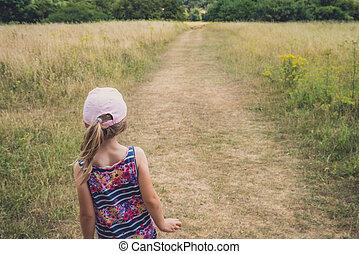서리, 시골, 걷기, 완전히, 소녀