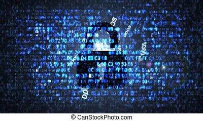 서버, 보호, 향하여, ddos, attacks., 컴퓨터, code.