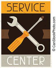 서비스, center., retro, 포스터, 에서, 바람 빠진 타이어, 디자인, style.