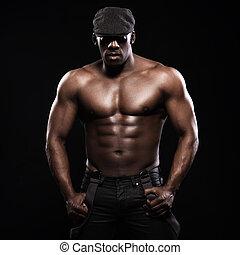 서스펜더, 운동, 모자, 단지, 미국 영어, african, topless., 초상, 남자