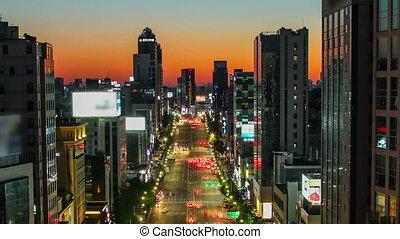 서울, 도시, broody, 일몰, 황혼