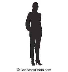 서 있는, 여자, 실루엣, shirt., 몸치장을 한다, 바지, 고립된, 벡터, 고립지, 손