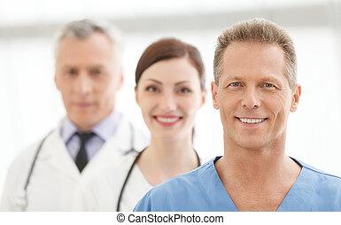 서 있는, 입신한, 내과의, 의사, 함께, team., 팀, 미소, 최선