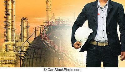 서 있는, 헬멧, 기름, 향하여, 정련소, 공학, 안전, 남자