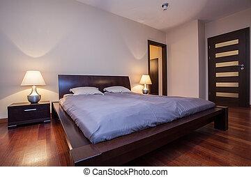 석회화, 집, -, 나무로 되는 침대