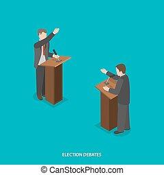 선거, 토론, 바람 빠진 타이어, 동일 크기다, vector.