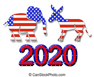 선거, 2020, 파티, 상징, 문자로 쓰는
