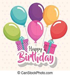 선물, 공기, 생일, 행복하다, 기구, 카드, 축하