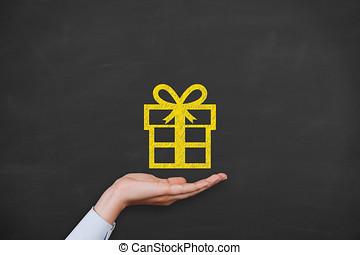 선물 상자, 통하고 있는, 칠판