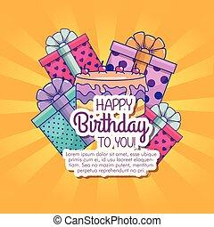 선물, 은 선물한다, 장식, 생일, 행복하다
