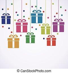선물, 인사, 상자, 벡터, 매다는 데 쓰는, 카드