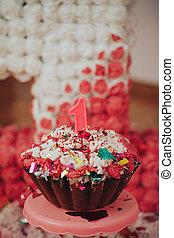 선물, 케이크, 생일, 다채로운, 양초