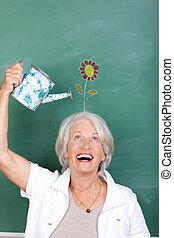 선생님, 보유, 급수 깡통, 와, 꽃, 그어진, 통하고 있는, 칠판