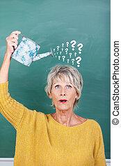 선생님, 보유, 급수 깡통, 와, 물음표, 통하고 있는, 칠판