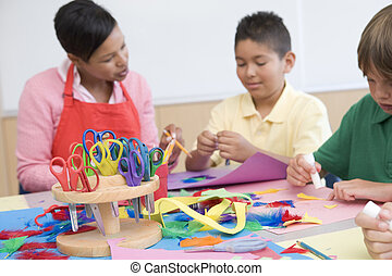 선생님, 와..., 학생, 에서, 예술 학급, (selective, focus)