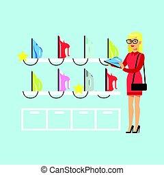 선택하는, 여자, 블론드인 사람, 다채로운, 기구, 나이 적은 편의, 삽화, 벡터, 철, 가정, 상점
