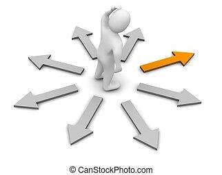 선택해라, 의, 오른쪽, direction., 3차원, 표현된다, illustration.