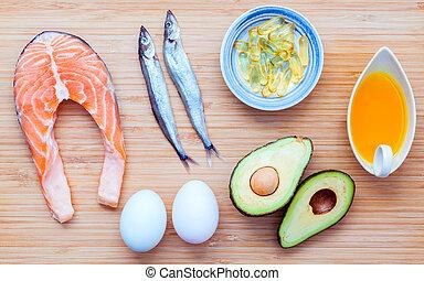 선택, 음식, 출처, 의, 오메가 3, 와..., 불포화다, 지방