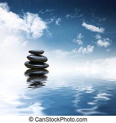 선, 돌, 위의, 물