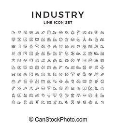 선, 산업, 아이콘, 세트