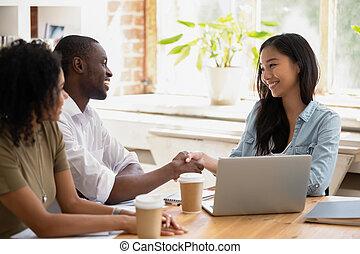 선, 여자 실업가, 일, 감사하는 것, 아시아 사람, african, 실업가, 주고받기
